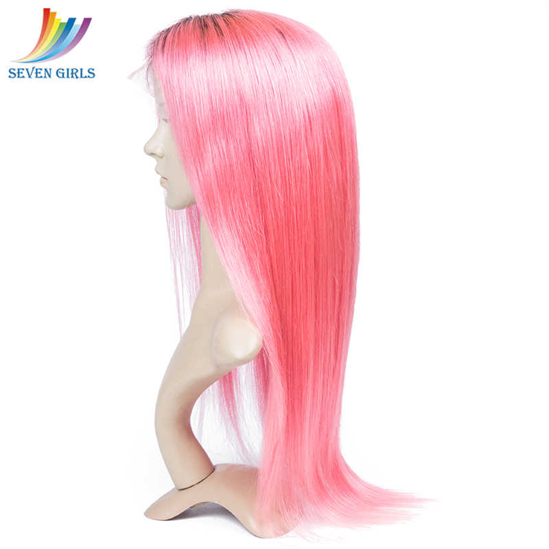 Sevengirls Virgin Ombre полный шнурок человеческих волос парики предварительно сорвал 1B/розовый бразильский прямой полный парик шнурка для белых и черных женщин