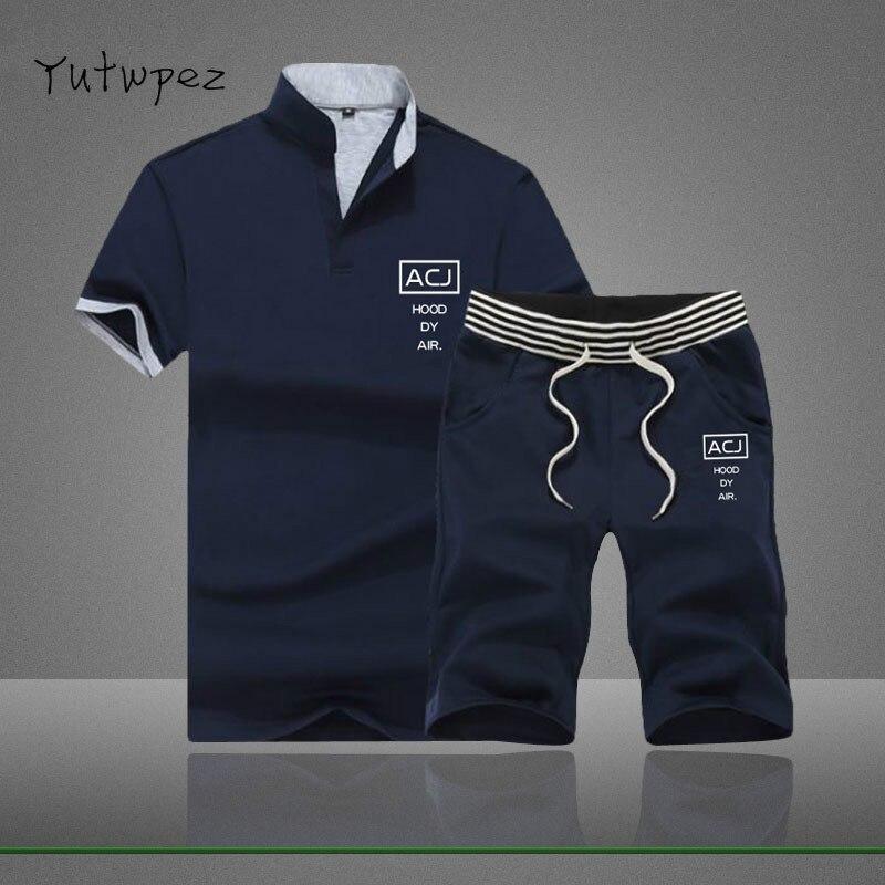 2019 T-shirt Da Uomo Shorts Set Vestiti Di Estate Degli Uomini Traspirante Breve Set Sportsuits Tuta Set Di Stile Di Tendenza Di Modo Di Disegno