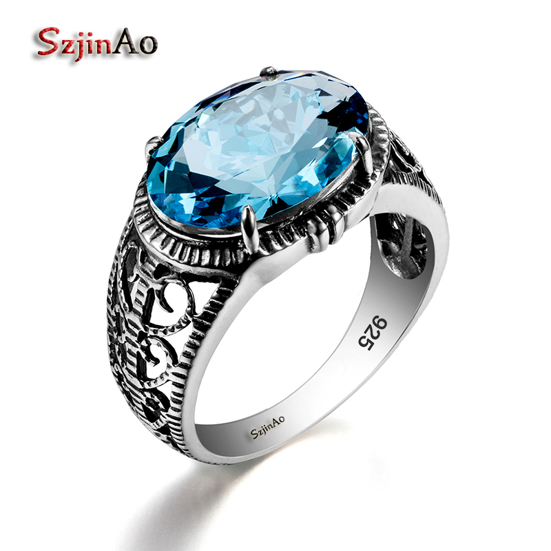 Szjinao Fashion Women Bride 925 Sterling Silver Royal Aquamarine Rings Russia Jewelry Hollow Out Vintage Engagement Wedding Ring