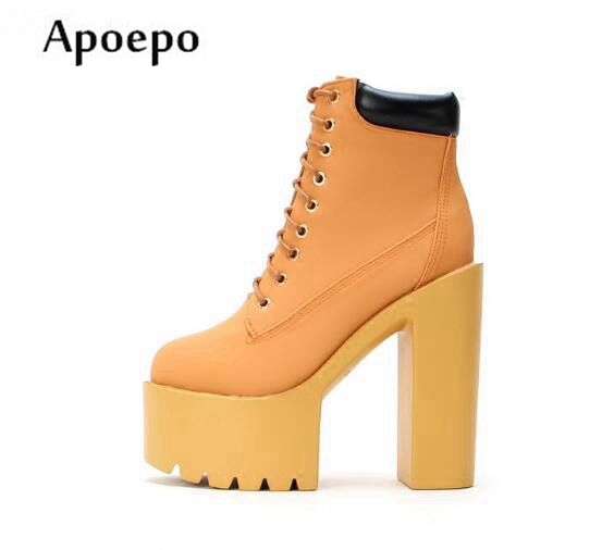 New Hot Selling Platform Super High Lace-up Woman Boots 2018 PU leather Thick Heels Ankle Boots Sexy Riding Boots все цены