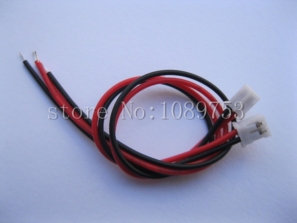 50 pcs PH 2.0mm Pitch 2 Pin Female Connector with 26AWG 200mm Leads Cable цены