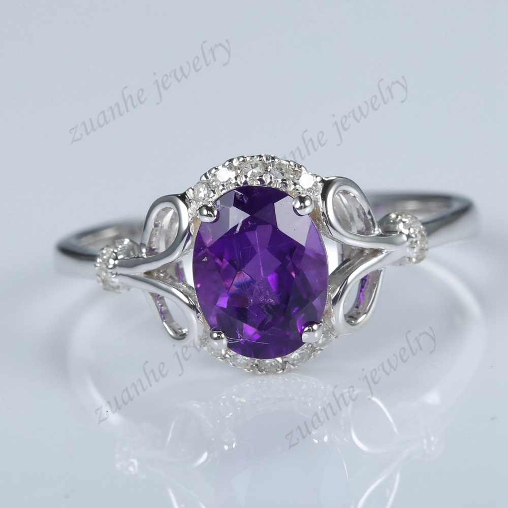 Solid 14k White Gold Natural Diamonds Purple Amethyst Elegant Engagement  Ring(china (mainland)