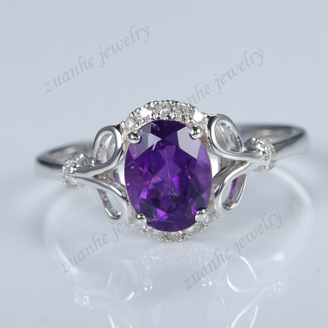 Super Solide 14 k Or Blanc Naturel Diamants Violet Améthyste Élégante  TO11