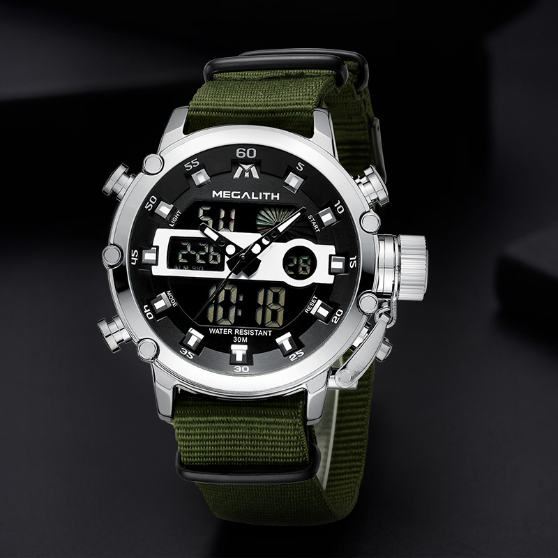 Relogio Masculino MEGALITH Sport Waterproof Watches Men Luminous Dual Display Alarm Top Brand Luxury Quartz Watch Wholesale 8051 1