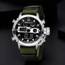 Relogio Masculino MEGALITH Sport Waterproof Watches Men Luminous Dual Display Alarm Top Brand Luxury Quartz Watch Wholesale 8051(China)