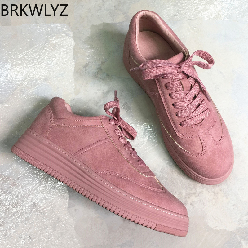 BRKWLYZ Leather Women Sneakers Fashion Pink Shoes for Women Lace up White Shoes Creepers Platform Shoes  off white shoesBRKWLYZ Leather Women Sneakers Fashion Pink Shoes for Women Lace up White Shoes Creepers Platform Shoes  off white shoes