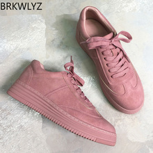 BRKWLYZ Leather Women Sneakers Fashion Pink Shoes for Women Lace up White Shoes Creepers Platform Shoes  off white shoes