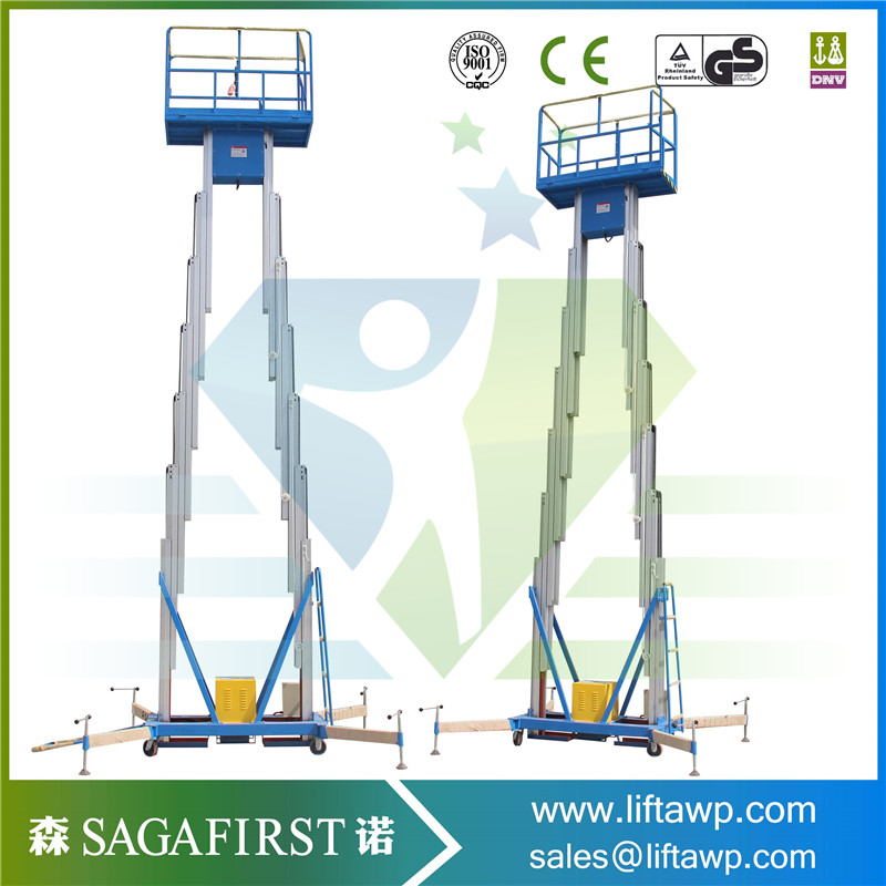 Aerial Working Platform Lift Vertical Lifting Double Column Hydraulic Aluminum Lift