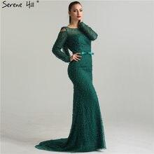 e5f16a884 Estilo de Dubai verde mangas largas perlas vestidos de noche elegantes del cordón  de la sirena Backless vestido de noche de lujo.