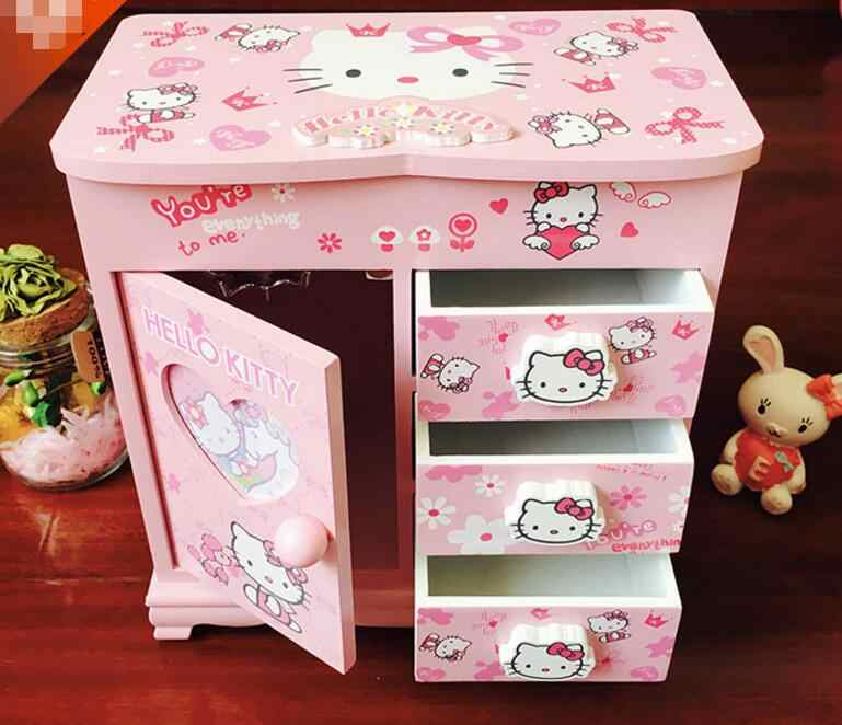 Ym 720 Kartun Hellokitty Hello Kitty Lovely Kayu Kotak Perhiasan Aksesoris