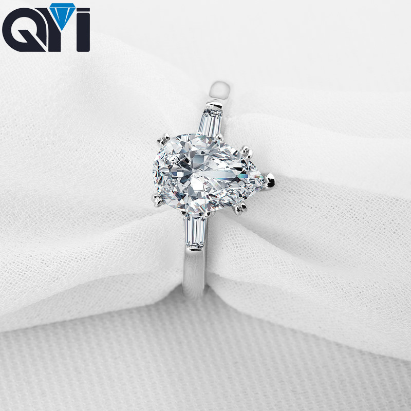 QYI Women Ring 925 Sterling Silver 2 ct Engagement Jewelry Pear Cut Zircon Female Wedding Finger Flower Rings