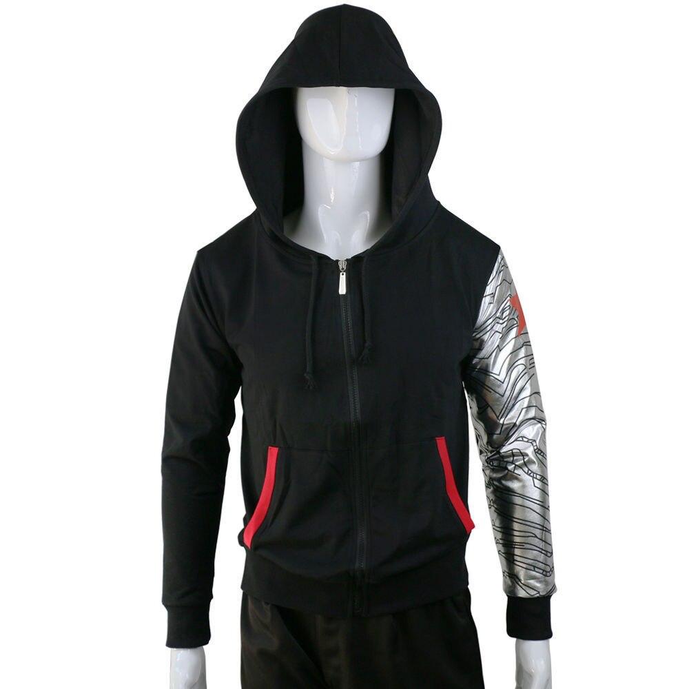 Cosplay Costumes Winter Soldier Hoodie Bucky Zipper Jacket Hoodie Sweatshirt Coat Top