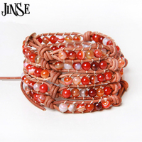 JINSE Exquisite Quality Amazon stone Tiger Eye Tourmaline Rose stone Leather 5X Bracelet Gifts WPB203