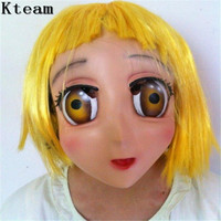 Hot Female Sweet Girl Half Head Kigurumi Mask With BJD Eye cartoon Cosplay Japanese Anime Role Lolita Mask Crossdress Doll mask