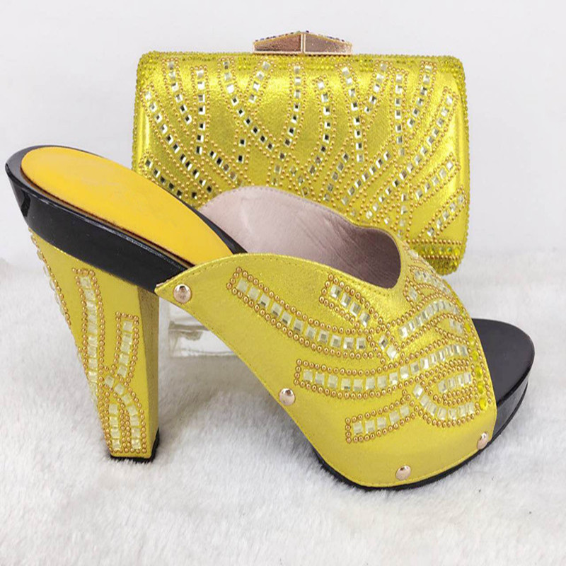 ФОТО PPI30 High quality matching italian shoes and bag set for wedding party, open toe slipper and matching clutch bag
