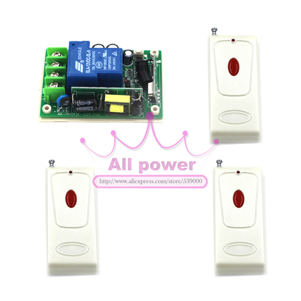 Wireless remote switch AC 85V~250V, light control 1CH RF Switch System,315/433 MHZ 3 Transmitter And 1 Receiver wireless pager system 433 92mhz wireless restaurant table buzzer with monitor and watch receiver 3 display 42 call button