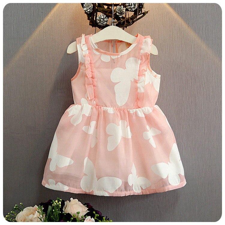 Spring Summer New Pattern 2016 Korean Children's Garment Girl Baby Butterfly Printing Dress Girl Ou Gensha Princess