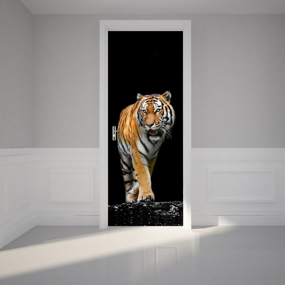 online get cheap 3d door stickers decor aliexpress com alibaba 2 pcs set ferocious tiger wall stickers diy mural bedroom home decor poster pvc waterproof door sticker imitation 3d decal fa