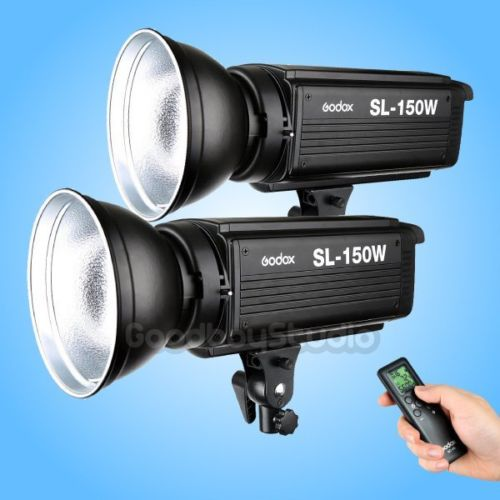 2PCS Godox SL-150W 150W 5600K Studio LED Continuous Photo Video Light Lamp w/ Bowens Mount for DSLR Camera + Remote Control cononmark 400ws g4 0 hss photographic studio outdoor strobe flashlight 3g remote video light for dslr camera