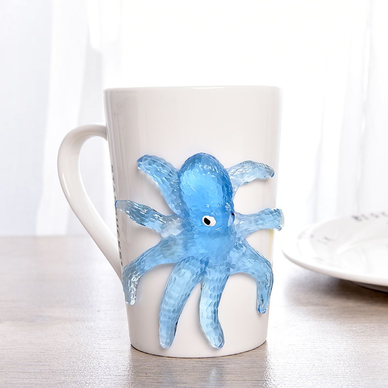 7pcs TPR Soft Material Decompression Starfish Octopus Shark Toy Sticky Marine Animal Toys For Children'day Promotional Gifts