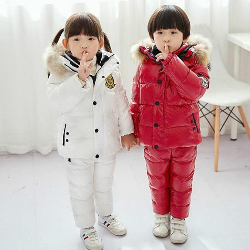 -30 russie hiver enfants vêtements 90% canard vers le bas bébé vêtements ensembles veste + bas pantalon rouge enfants garçons combinaisons de neige vers le bas en plein air