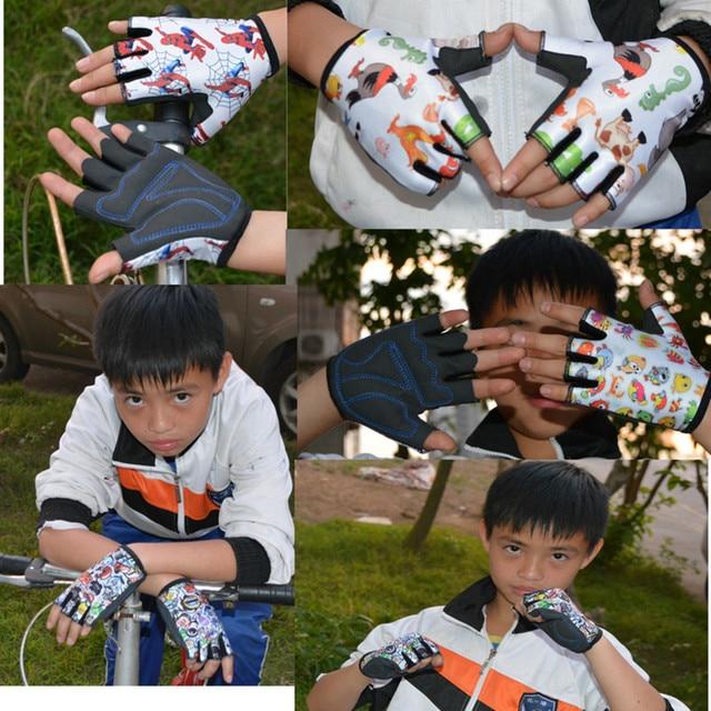 Promoção verão crianças luvas de ciclismo metade dedo skate equitação mountain bike esportes ao ar livre luvas para meninos e meninas crianças 3