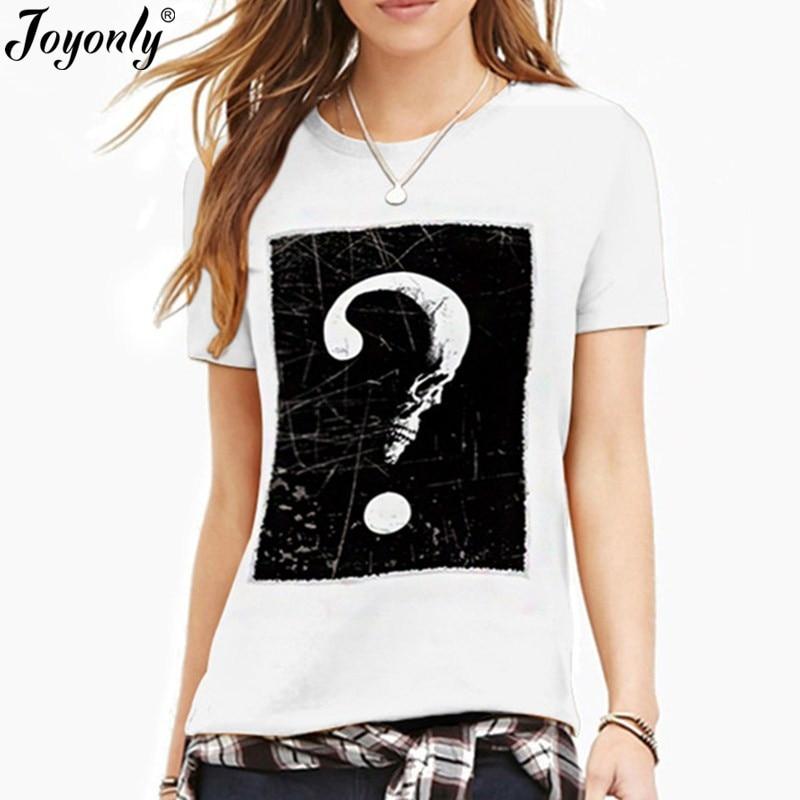 Joyonly 2018 Summer T-shirt Women Casual Lady Top Tees 3d Tshirt Female Clothing Printed Question mark Skull Moon Funny T Shirt