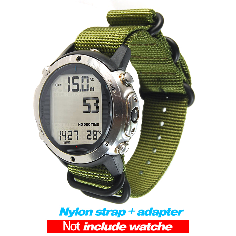 For Suunto D6 D6I Dive Computer Watch Nylon Strap Watchbands+ABS Adapters+Screwbars