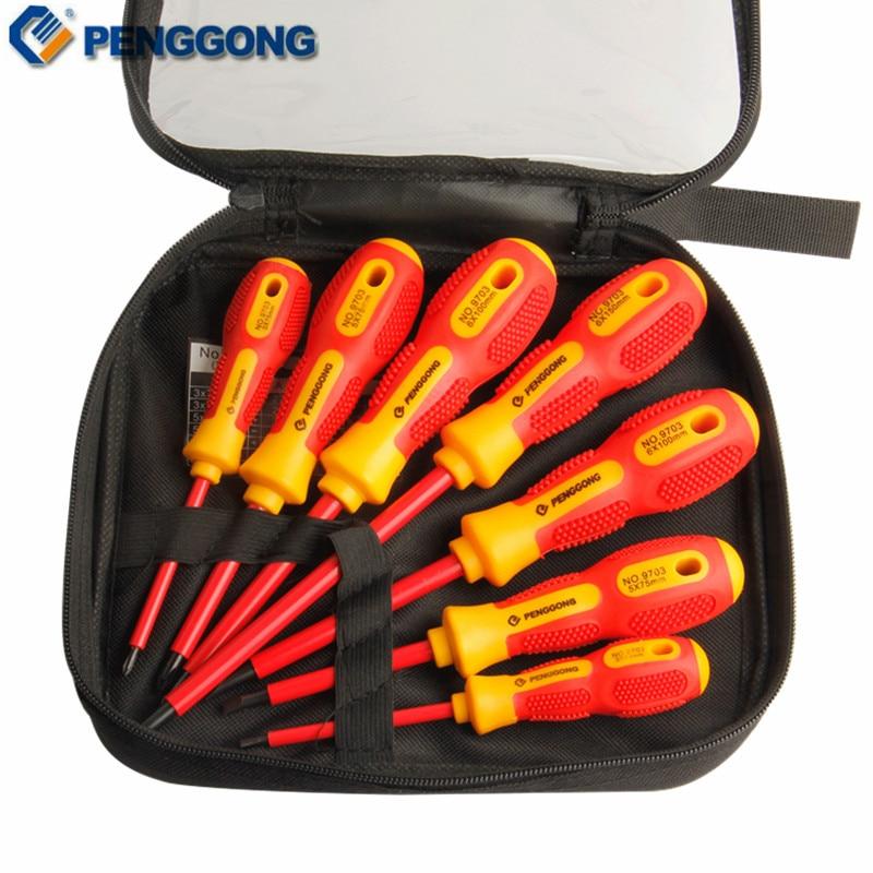 PENGGONG 7 sztuk Zestaw wkrętaków izolowanych 1000 V Zestaw wkrętaków krzyżowych / elektryków Zestaw końcówek wkrętakowych Napięcie Magnetyczne CR-V Narzędzia ręczne