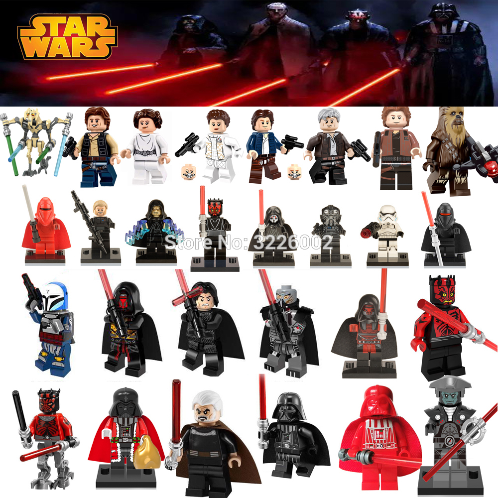 Star Wars Figures Starwars Leia Han Solo Yoda Luke Sith Lord Darth Vader Maul Revan Dooku Sidious Building Blocks Bricks Toys