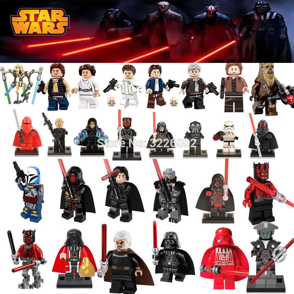 Figuras Star Wars Léia starwars Yoda Han Solo Maul Lorde sith Darth Vader Luke Revan Dooku Sidious Blocos de Construção tijolos brinquedos