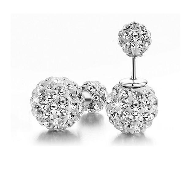 Fashion Jewelry Double Side Rhinestone Earring Shamballa Earrings Crystal Ball Women Stud 8mm 16mm