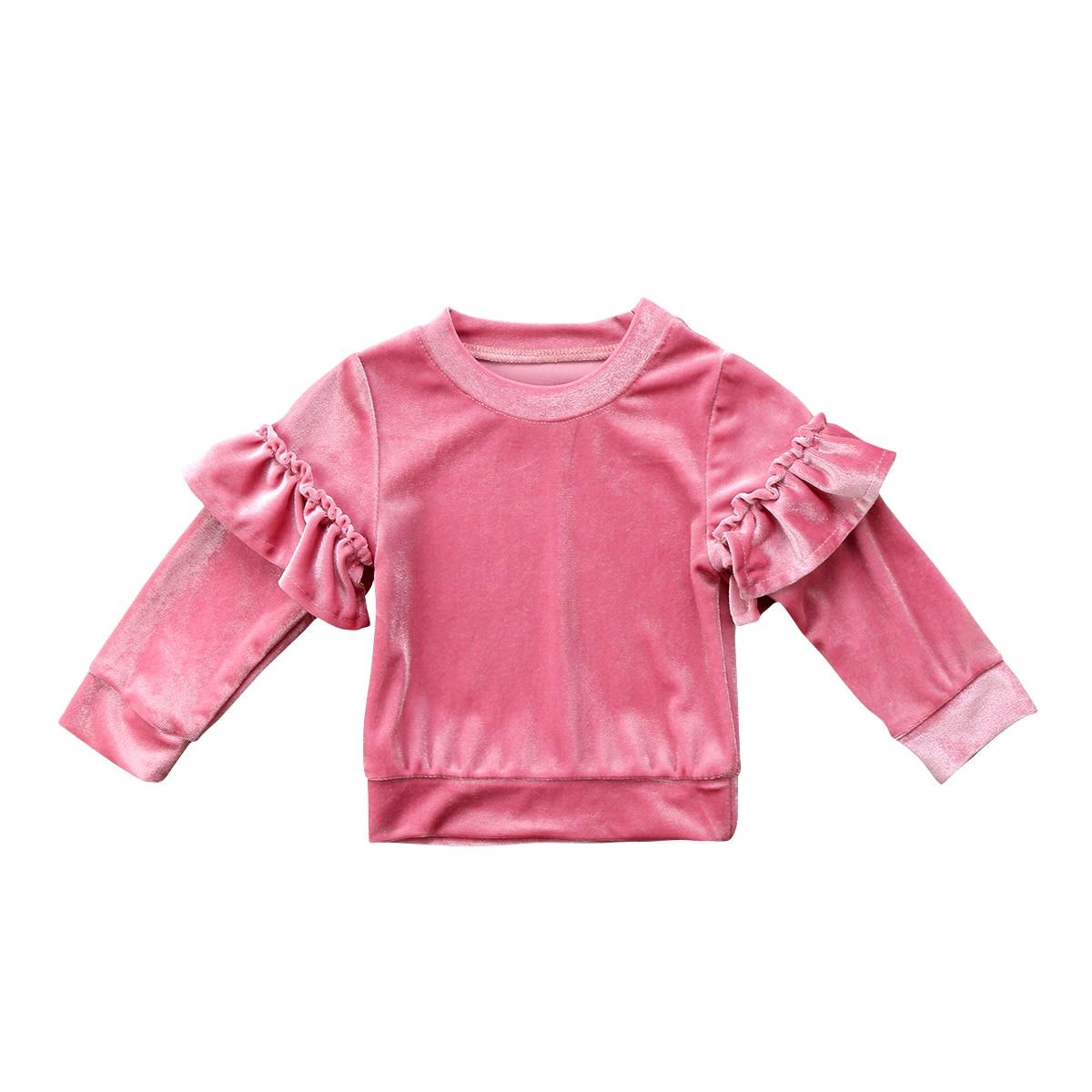 Kid Baby Girls Clothes Children Kids Velvet Ruffle Long Sleeves T-shirts For Gilrs Fleece Tops Jumper Fashion Girls clothing