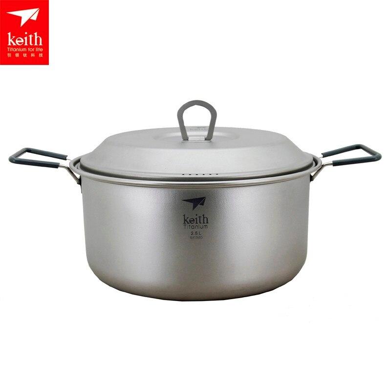 Keith Pot de titane en plein air Camping Pot à soupe ultra-léger Picnice ustensiles de cuisine Ti6015/Ti6018 - 3