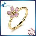 Venda quente 100% 925 Sterling Silver Cherry Blossom Empilhável Anel para As Mulheres Rosa & Gold com Jóias de Prata Esterlina
