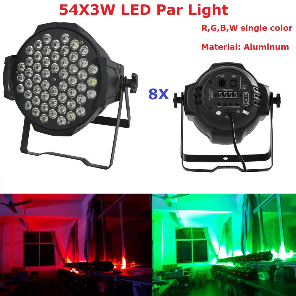 8XLot New Professional LED Par Lights 54X3W RGBW LED DMX Stage Lighting Effect DMX512 Master-Slave Led Par Cans For Disco KTV коляска recaro recaro прогулочная коляска easylife pink