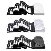 Teclado digital flexível portátil piano 37/49 teclas de silicone flexível eletrônico rolar acima do piano crianças brinquedos alto-falante embutido