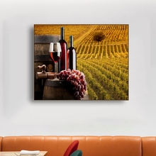 Laeacco Canvas Calligraphy Paintings Wine Cup Vineyard Wall Art  Posters and Prints Home Living Room Bedroom Decoration