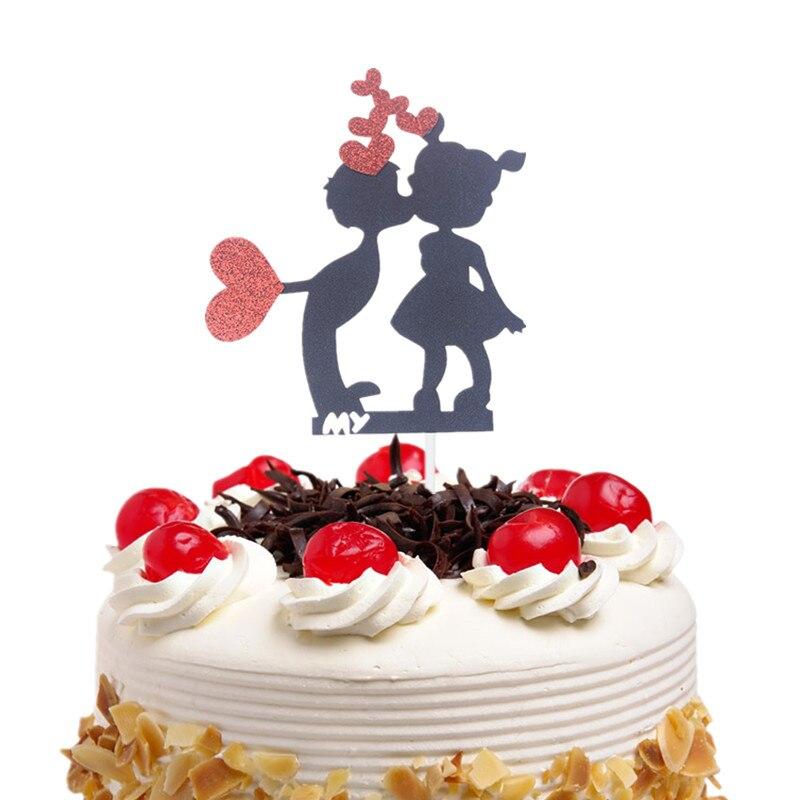 Heart cake topper Happy Birthday Cupcake Cake Toppers Kids Boy Girl Kiss Gift Wedding Baby Shower Party Baking DIY Xmas Decor