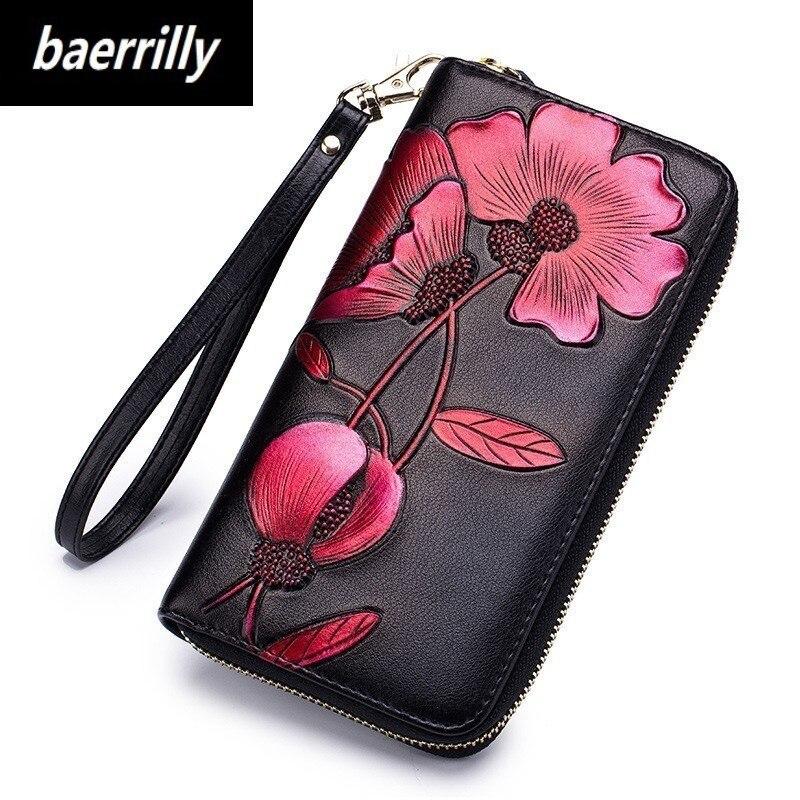 Ladies Genuine Leather Wallets Long Design Female Purse Vintage Women Money Clutch Bag Top Leather Wallet Carteira Feminina