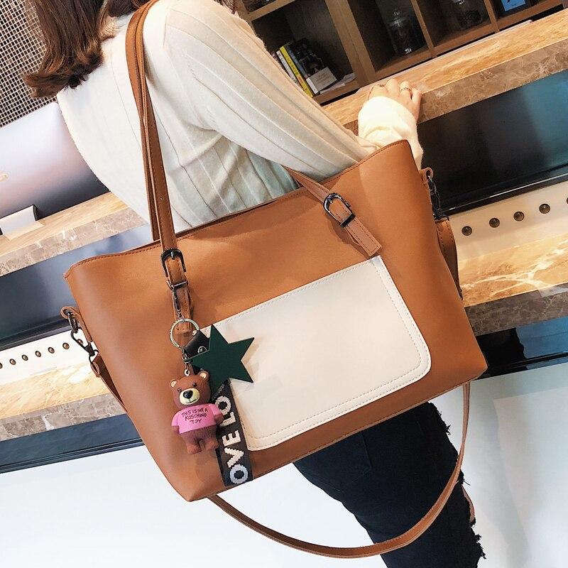 New handbag shoulder large capacity handbag ladies handbag high quality casual simple shopping bag color atmosphere 1
