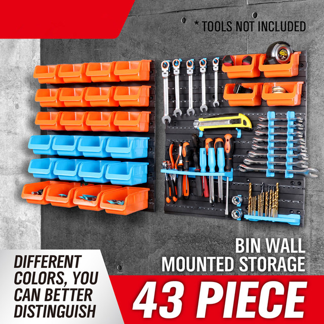 43 Rushed Caja De Herramientas Toolbox New Wall Mounted Storage Bin Rack  Tool Parts Garage