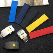Черный, желтый, красный, темно-синяя силиконовая резина, ремешок 22 мм, 24 мм, ремешок для часов, браслет для navitimer/avenger/Breitling