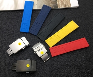 Black Yellow Red Dark Blue Silicone Rubber Watch band 22mm 24mm Watchband Bracelet For navitimer/avenger/Breitling strap tools(China)