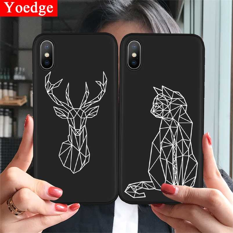 Animals Phone Case For iPhone 8 Plus Black Matte Soft TPU Back Cover For iPhone 11 Pro X XR XS Max 10 7 6 6S Plus 5 5S SE Cases
