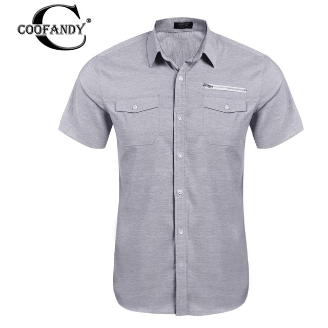 Coofandy 2017 verão nova moda bolso com zíper botão de camisa dos homens de manga curta marca clothing qualidade suave camisa de algodão homens casuais