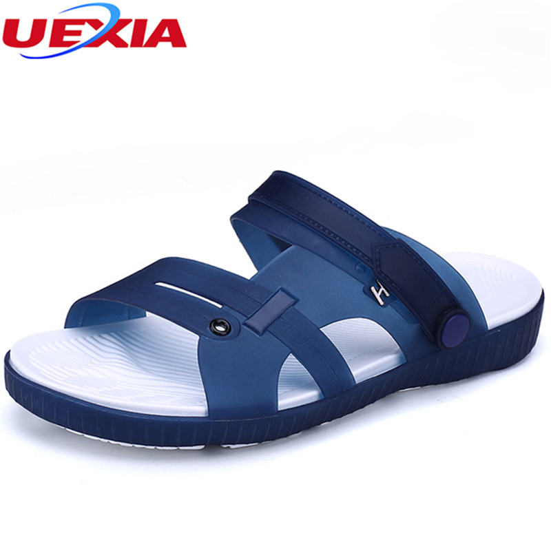 UEXIA Summer Slippers Men Casual Leisure Soft Slides Eva Massage Beach Slippers Water Shoes Men's Sandals Flip Flops Soft bottom 2017 new design summer comfortable eva solid men s sandals leisure beach beckham flip flops slipper shoes slides 05