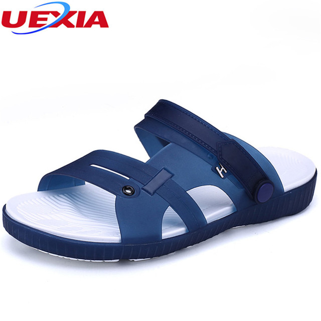 30e49a92368b8d UEXIA Summer Slippers Men Casual Leisure Soft Slides Eva Massage Beach  Slippers Water Shoes Men s Sandals