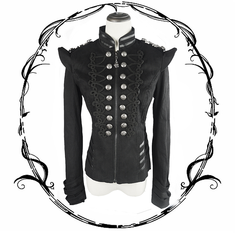 Punk Military Uniform Women Short Jacket Steampunk Gothic Black Long Sleeve Autumn Winter Coats Casual Jacket Garment