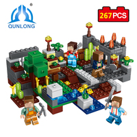 Qunlong 267pcs My World 4 In 1 Town Group Minecraft Building Block Figures Bricks Educational Toys